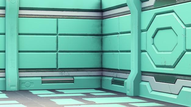 O corredor velho realista da ficção científica da nave espacial, 3d rende.