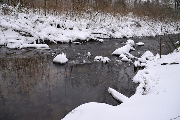 O córrego da primavera consiste em neve derretida.