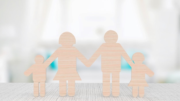 O corte de madeira da família para o conceito de negócios renderização em 3d