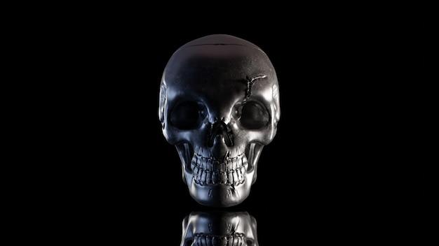 O crânio é feito de metal na noite escura. que tem apenas luz na lateral e caminho de recorte. ainda estilo de vida, 3d render.