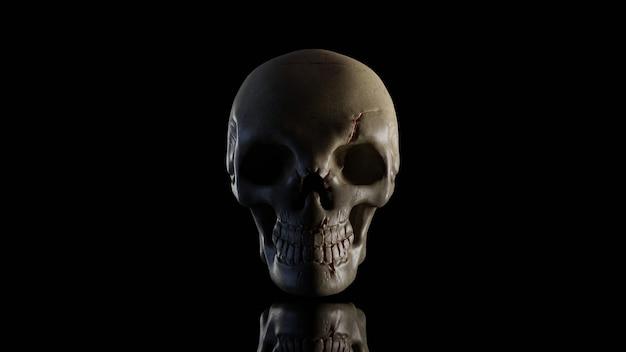 O crânio está na noite escura. renderização 3d.