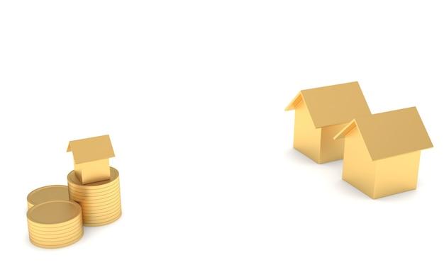 O crescimento da poupança de casa conceito de investimento em casa de projeto imobiliário e ouro. por um futuro melhor tanto nas finanças quanto na habitação. renderização 3d