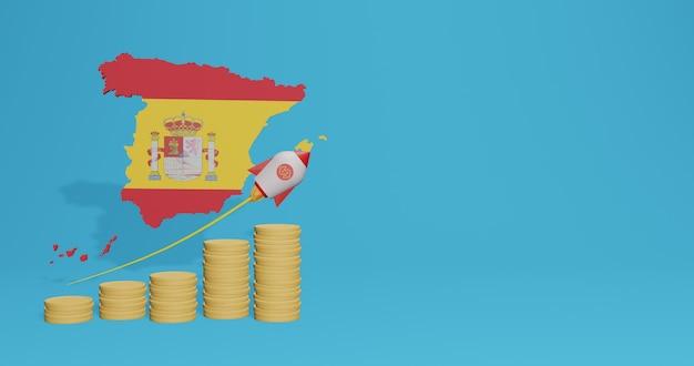O crescimento econômico no país da espanha para infográficos e conteúdo de mídia social em renderização 3d