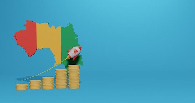O crescimento econômico no país da guiné para infográficos e conteúdo de mídia social em renderização 3d