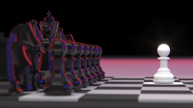 O desafio do xadrez pequeno, conceito de planejamento de estratégia competitiva, renderização 3d