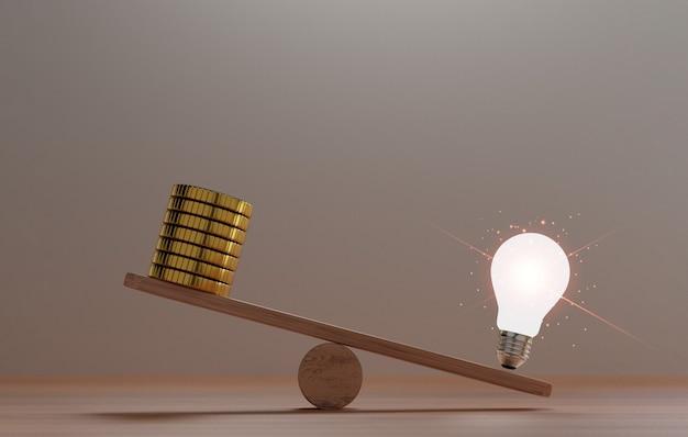 O desequilíbrio da lâmpada incandescente e moedas de ouro, dinheiro em gangorras para a ideia de pensamento criativo, pode gerar mais tesouro e conceito de dinheiro com a renderização em 3d.