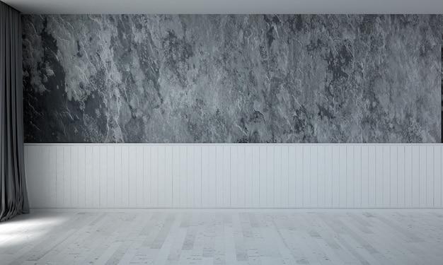 O design aconchegante da sala de estar vazia e o fundo da parede com textura de concreto