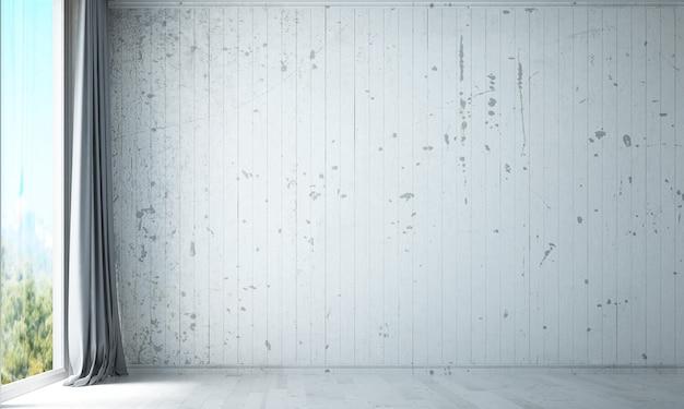O design da sala de estar interior do espaço vazio e o fundo da parede com textura pintada de cor branca