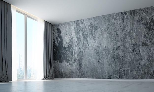 O design da sala de estar vazia do loft e o fundo da parede com textura de concreto