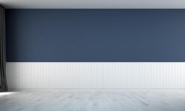 O design da sala de estar vazia e o fundo da parede com textura pintada de azul