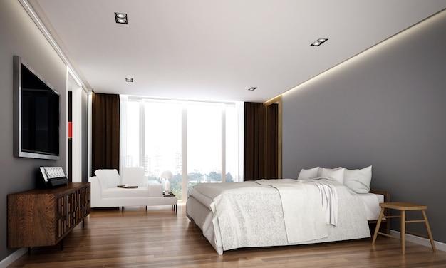 O design de interiores aconchegante e simulação de móveis de quarto e fundo de textura de parede vazia e renderização em 3d