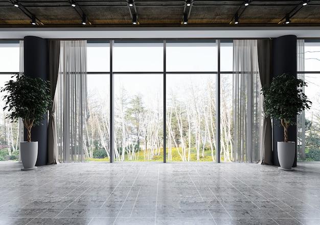 O design de interiores da sala de estar aconchegante e a vista de fundo da árvore da floresta