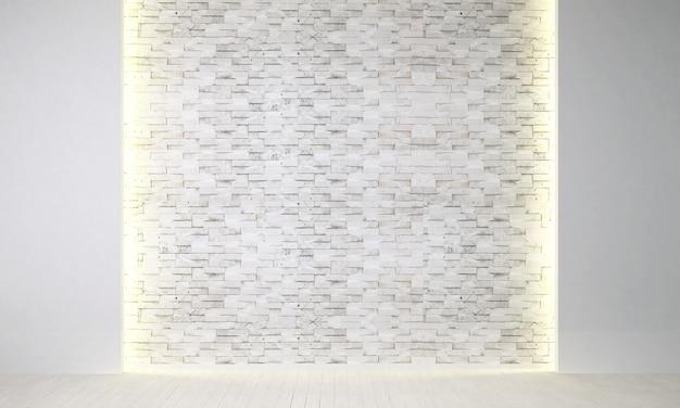 O design de interiores da sala de estar decorativa e minimalista e do fundo da parede de tijolos