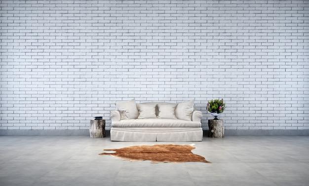 O design de interiores da sala de estar do loft e o fundo de textura de parede de tijolo