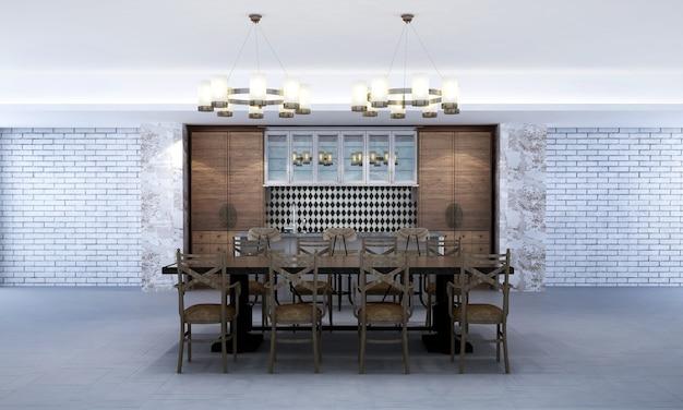 O design de interiores da sala de estar e da sala de jantar e o fundo da textura da parede de concreto