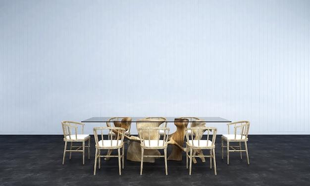 O design de interiores da sala de estar e de jantar e fundo de textura de parede branca