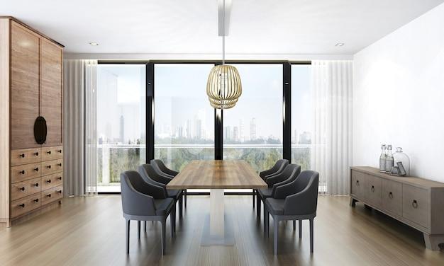 O design de interiores da sala de estar e de jantar e o fundo da textura da parede