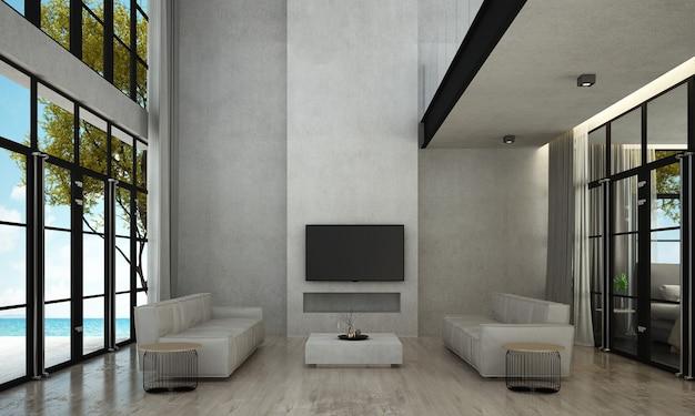 O design de interiores da sala de estar e o fundo da parede de concreto