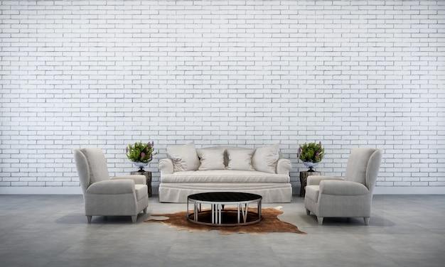 O design de interiores da sala de estar e o fundo de textura da parede de tijolos