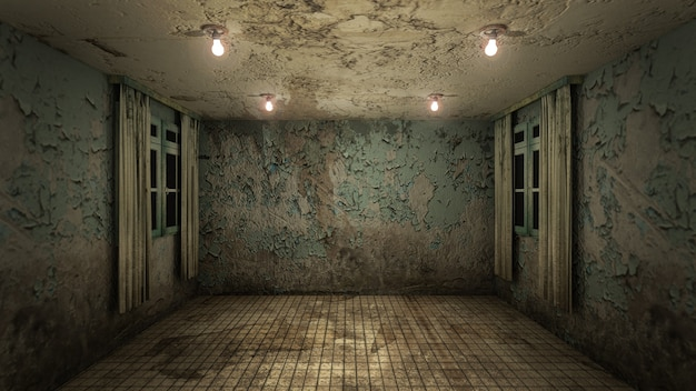 O design de interiores de horror e sala vazia de danos assustadores., renderização em 3d.