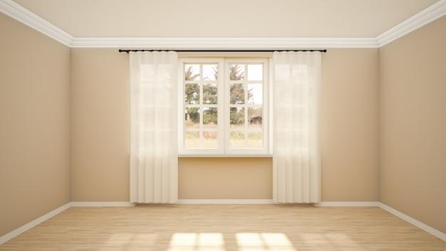 O design de interiores de uma sala vazia e de estilo moderno de sala de estar com janela e piso de madeira.
