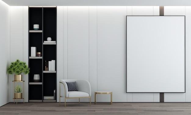 O design de interiores, decoração de móveis e tela de quadro vazio da sala de estar e renderização em 3d da parede