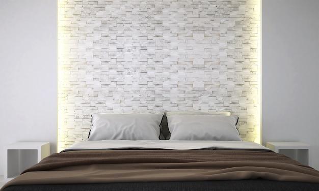 O design de interiores do mock up decorativo e do fundo do quarto e da parede de tijolos