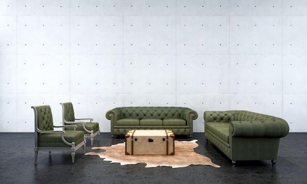 O design de interiores do salão e da sala de estar e o fundo da textura da parede de concreto