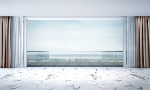 O design de interiores do salão e da sala vazia e vista para o mar