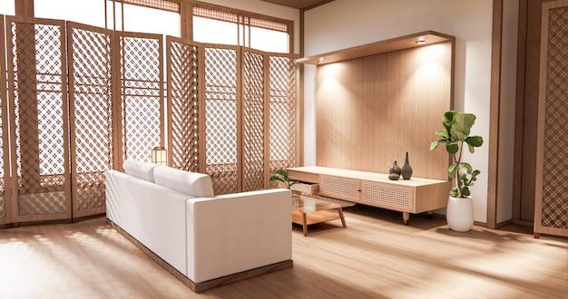 O design de interiores em madeira, sala de estar moderna zen em estilo japonês