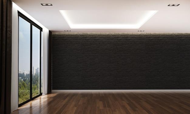 O design de interiores moderno e acolhedor e a simulação de móveis da sala de estar e o fundo de textura de parede de tijolo preto vazio e renderização em 3d