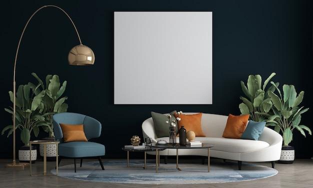 O design de moldura de lona vazia de móveis em interior moderno e azul escuro, sala de estar, estilo escandinavo