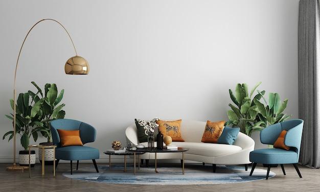 O design de móveis em interiores modernos de meados do século, sala de estar aconchegante, estilo escandinavo, renderização em 3d,