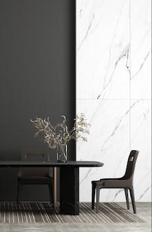 O design de móveis em interiores modernos, sala de jantar, estilo escandinavo, renderização 3d,