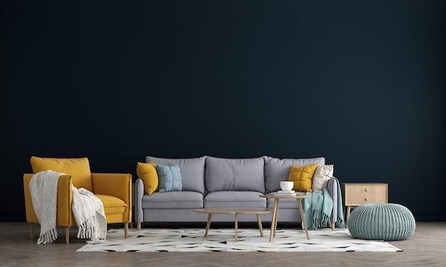 O design de móveis em parede azul interior moderna, sala de estar minimalista, estilo escandinavo, renderização 3d,