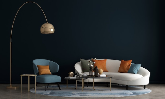 O design de móveis em parede azul interior moderna, sala de estar moderna de meados do século, estilo escandinavo, renderização 3d,