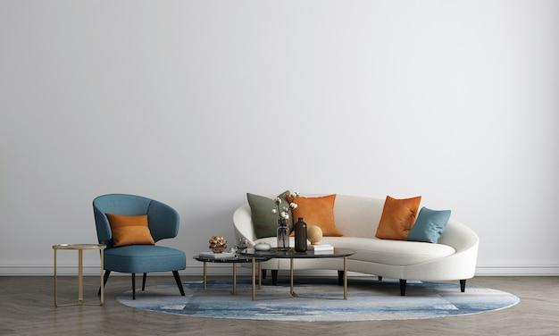 O design de móveis em um interior moderno, sala de estar aconchegante, estilo escandinavo, renderização em 3d,