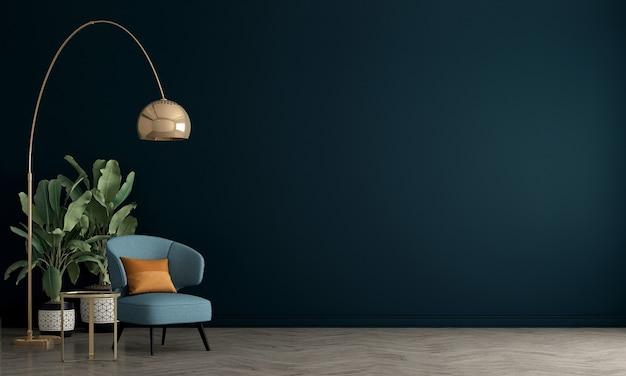 O design de móveis em um salão moderno com parede azul, sala de estar minimalista, estilo escandinavo, renderização 3d