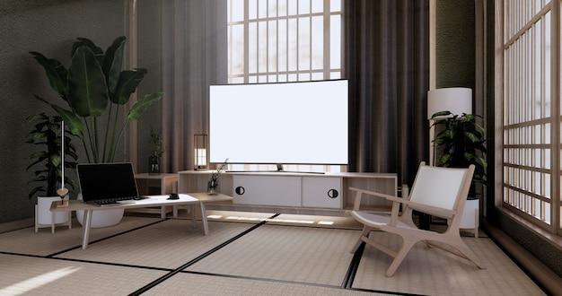 O design do gabinete vintage, sala de estar verde com poltrona em estilo japonês. renderização 3d