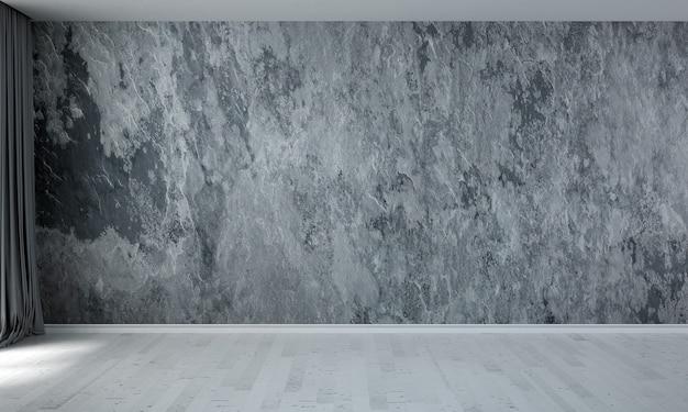 O design do interior da sala de estar do loft e o fundo da parede com textura de concreto