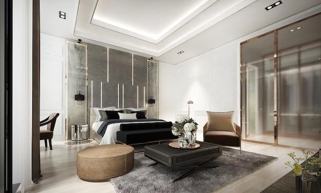 O design interior aconchegante do quarto e da parede de mármore