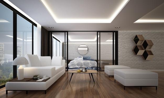 O design interior aconchegante e a simulação de móveis da sala de estar e do quarto e o fundo da textura da parede e renderização em 3d