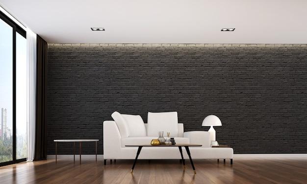 O design interior aconchegante e a simulação de móveis da sala de estar e o fundo de textura de parede de tijolo preto e renderização em 3d