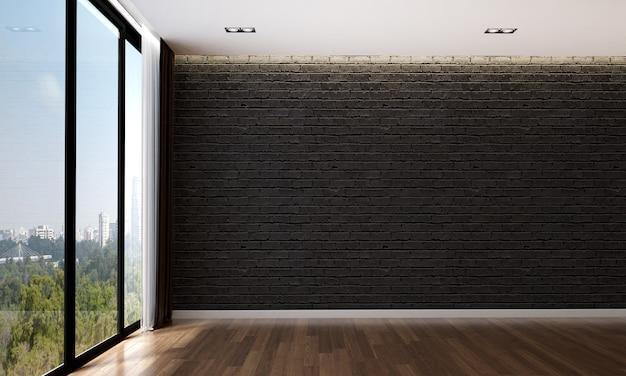 O design interior aconchegante e a simulação de móveis da sala de estar vazia e o fundo de textura de parede de tijolo preto e renderização em 3d