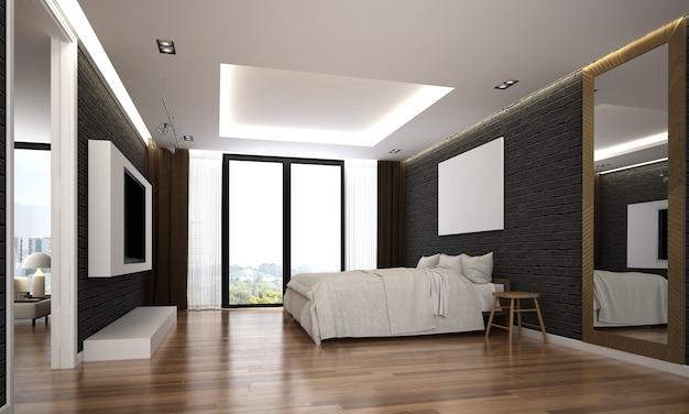 O design interior aconchegante e a simulação de móveis do quarto do quarto e a textura da parede de tijolo preta com fundo e renderização 3d