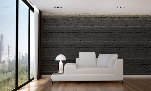 O design interior aconchegante e a simulação dos móveis da sala de estar e da textura da parede de tijolos e renderização 3d