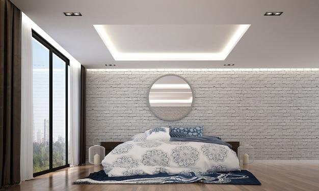 O design interior aconchegante e a simulação dos móveis do quarto do quarto e da textura da parede de tijolos e renderização em 3d