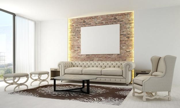 O design interior da sala de estar e da sala de estar e a moldura de lona vazia na parede de tijolos