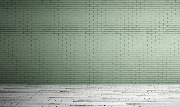 O design interior da sala de estar minimalista e o fundo da parede de tijolo verde Foto Premium