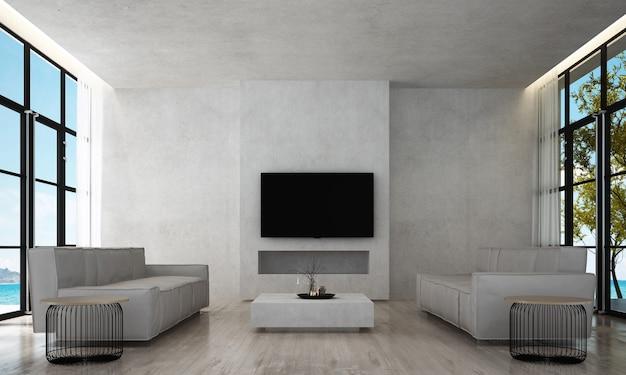 O design interior da sala e da sala de estar e o fundo da parede de concreto